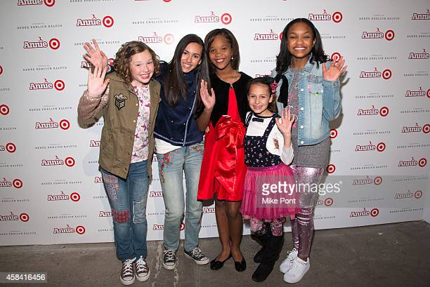 The cast of 'Annie' Zoe Margaret Colletti Amanda Troya Quvenzhane Wallis Nicolette Pierini and Eden DuncanSmith attend the 'Annie' For Target Launch...