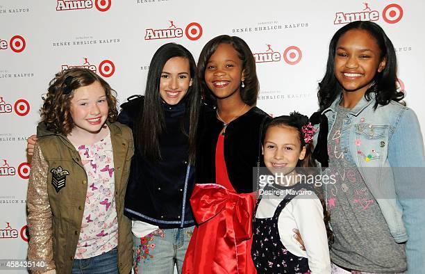 The cast of Annie Zoe Margaret Colletti Amanda Troya Quvenzhane Wallis Nicolette Pierini and Eden DuncanSmith attend 'Annie' For Target Launch Event...