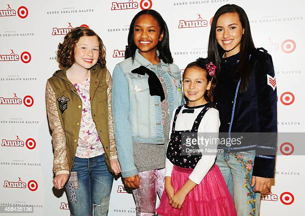The cast of 'Annie' Zoe Margaret Colletti Eden DuncanSmith Nicolette Pierini and Amanda Troya attend 'Annie' For Target Launch Event at Stage 37 on...