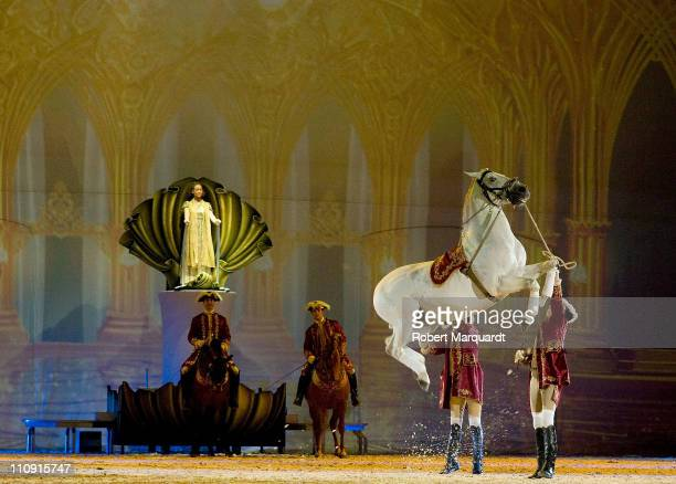 The cast of 'Apassionata' perform at the Palau Sant Jordi on March 26, 2011 in Barcelona, Spain.
