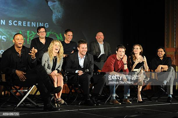 The cast of Arrow and Flash attend a special screening for the CW's Arrow And The Flash at Crest Theatre on November 22 2014 in Westwood California