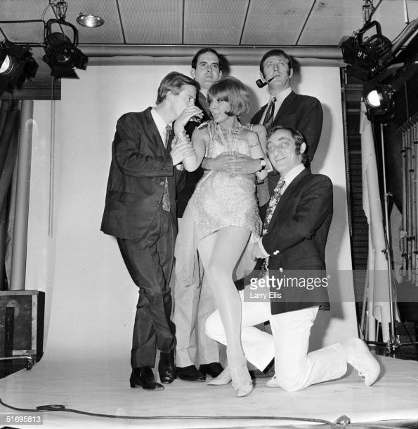 The cast of 'At Last the 1948 Show' a television comedy series produced by David Frost with sketches written by the cast 13th September 1967 Left to...