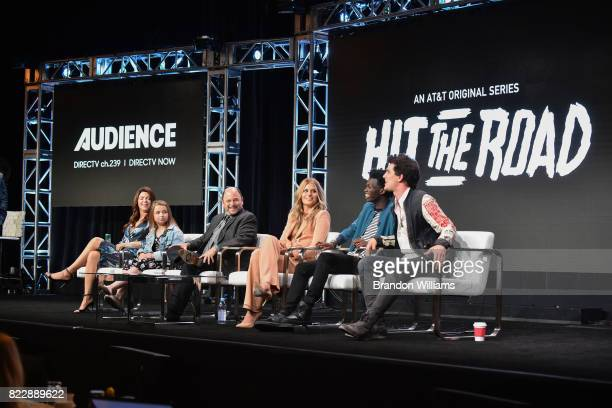 The cast of ATT AUDIENCE Network's Hit the Road actors Amy Pietz Maddie DixonPoirier Jason Alexander Natalie Sharp Tim Johnson Jr and Nick Marini...