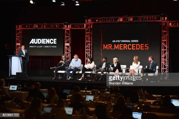 The cast of ATT AUDIENCE Network's Mr Mercedes director Jack Bender actors Brendan Gleeson Mary LouiseParker Jharrel Jerome Holland Taylor Kelly...