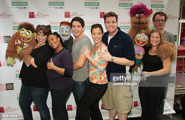 The cast of Avenue Q attends Broadway on Broadway in Times Square on September 14 2008 in New York City