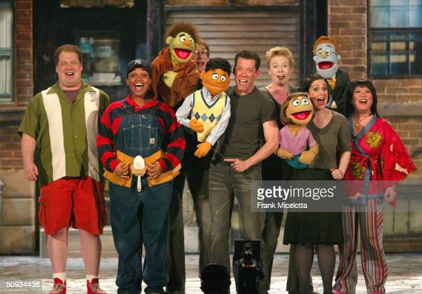The cast of Avenue Q perform on stage during the 58th Annual Tony Awards at Radio City Music Hall on June 6 2004 in New York City The Tony Awards are...