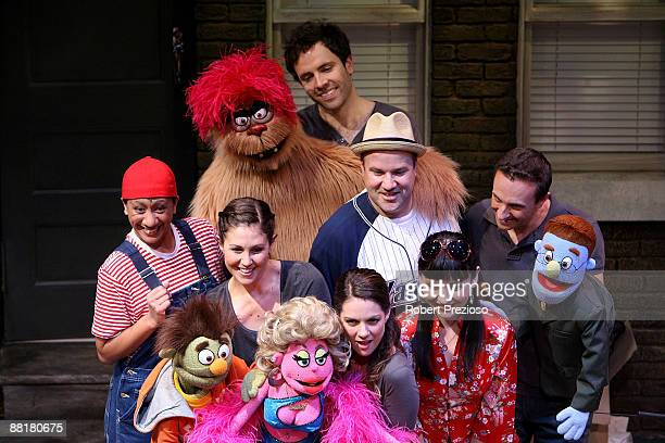 The cast of Avenue Q pose during a media call for 'Avenue Q' at the Comedy Theatre on June 3 2009 in Melbourne Australia