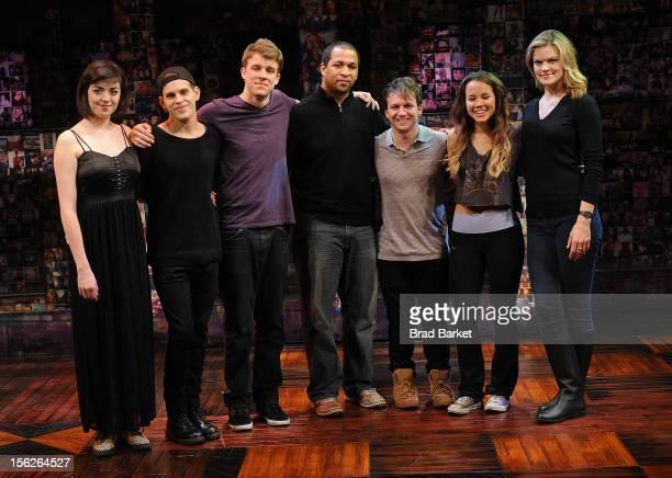 The cast of 'Bare' Barrett Wilbert Weed Taylor Trensch Jerold E Solomon Gerard Canonico Elizabeth Judd and Missi Pyle attend the 'Bare' Press...
