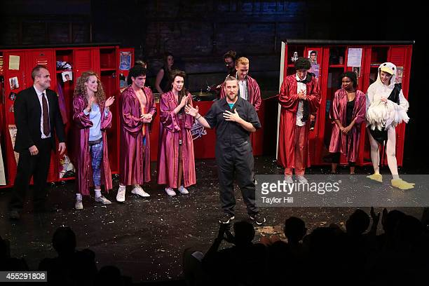 The cast of Bayside The Musical take a bow with Dustin Diamond at Theatre 80 St Marks on September 11 2014 in New York City