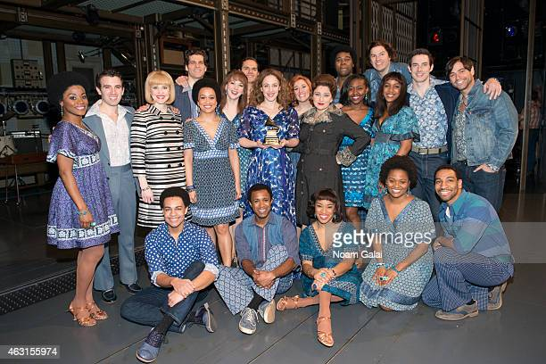 The cast of 'Beautful The Carole King Musical' celebrate their Grammy win with Carole King's own Grammy Award at Stephen Sondheim Theatre on February...