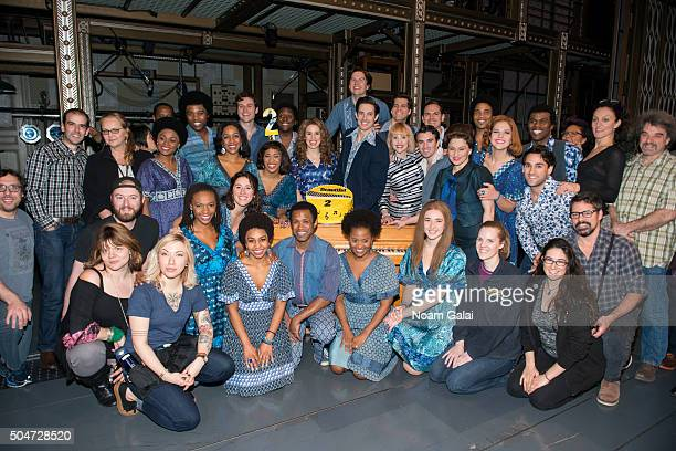 The cast of 'Beautiful The Carole King Musical' celebete the two year anniversary of Broadway's 'Beautiful The Carole King Musical' at Stephen...