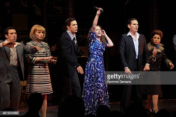 The cast of 'Beautiful The Carole King Musical' Jarrod Spector Anika Larsen Jessie Mueller and Scott J Campbell celebrates 1 year on Broadway Curtain...