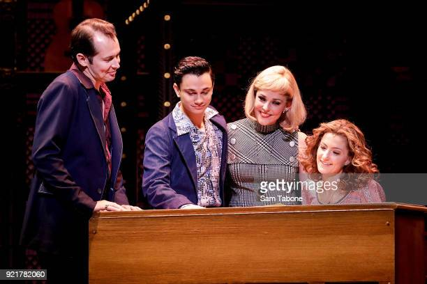 The cast of 'Beautiful The Carole King Musical' perform during a full dress rehearsal ahead of the premiere at Her Majesty's Theatre on February 21...