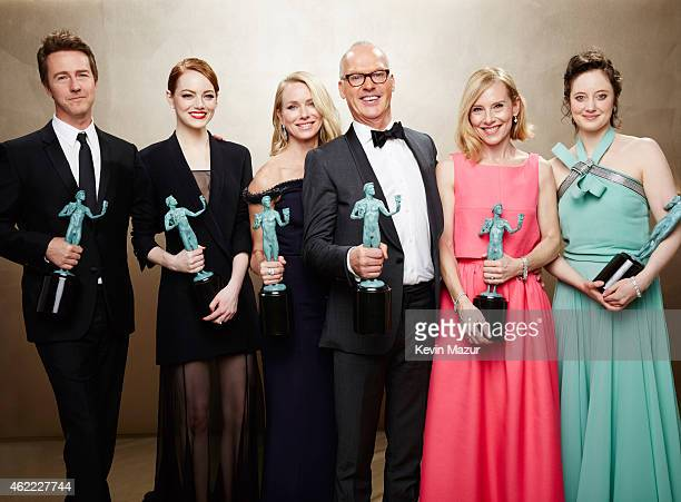The cast of Birdman pose during TNT's 21st Annual Screen Actors Guild Awards at The Shrine Auditorium on January 25 2015 in Los Angeles California...
