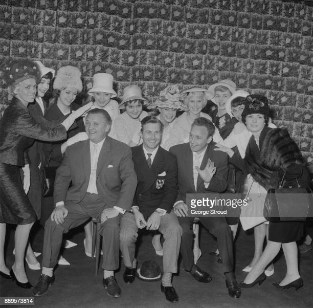 The cast of 'Black and White Minstrel Show' arrive at Heathrow Airport after winning the Rose d'Or award London UK 28th May 1961