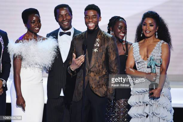 """The cast of """"Black Panther"""" accepts Outstanding Performance by a Cast in a Motion Picture onstage during the 25th Annual Screen ActorsGuild Awards..."""