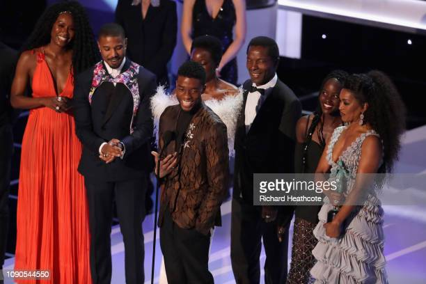 The cast of Black Panther accepts Outstanding Performance by a Cast in a Motion Picture onstage during the 25th Annual Screen ActorsGuild Awards at...