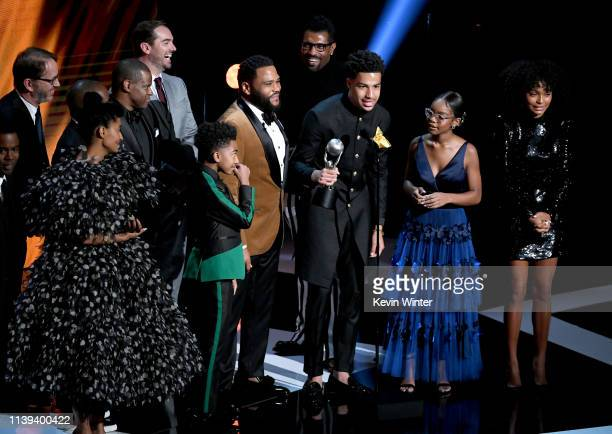 The cast of Blackish accepts award onstage at the 50th NAACP Image Awards at Dolby Theatre on March 30 2019 in Hollywood California