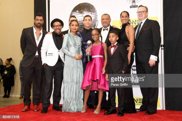 The cast of Blackish poses in the press room at the 48th NAACP Image Awards at Pasadena Civic Auditorium on February 11 2017 in Pasadena California