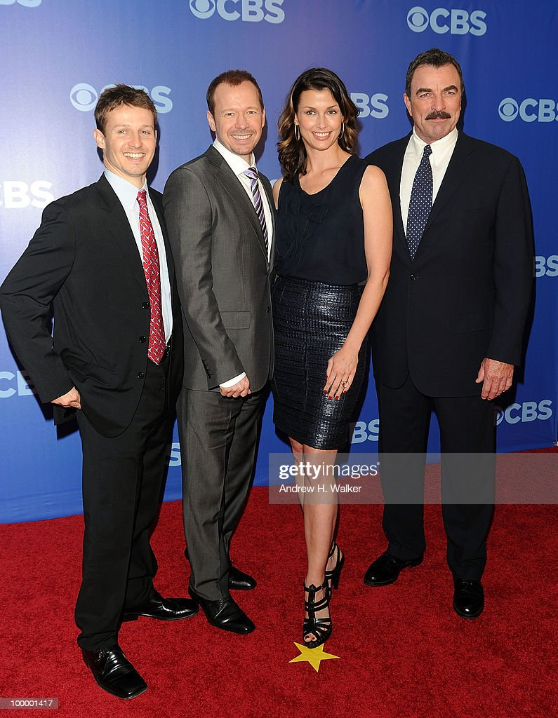 The cast of 'Blue Bloods' (L-R) Will Estes, Donnie Wahlberg, Bridget Moynahan and Tom Selleck attend the 2010 CBS UpFront at Damrosch Park, Lincoln Center on May 19, 2010 in New York City.