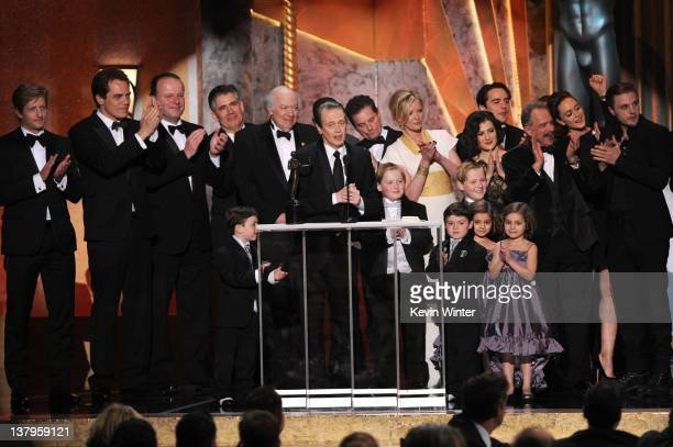 The cast of 'Boardwalk Empire' poses with their Outstanding Performance by an Ensemble in a Drama Series award onstage during the 18th Annual Screen...