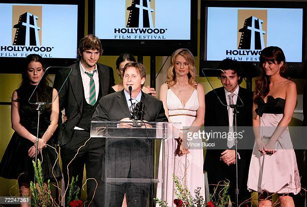 The cast of 'Bobby' Lindsay Lohan Ashton Kutcher Demi Moore Emilio Estevez Heather Graham David Krumholtz and Mary Elizabeth Winstead accept the...