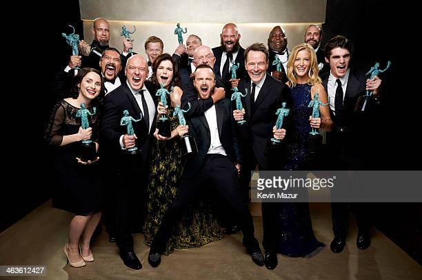 """The cast of """"Breaking Bad"""" poses at the 20th Annual Screen Actors Guild Awards at The Shrine Auditorium on January 18, 2014 in Los Angeles,..."""