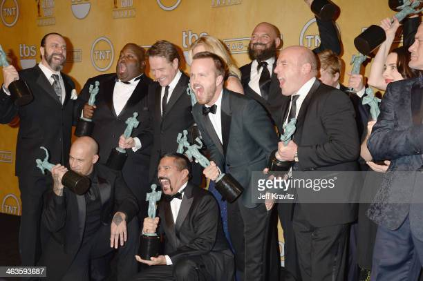 The cast of 'Breaking Bad' poses in the press room during the 20th Annual Screen Actors Guild Awards at The Shrine Auditorium on January 18 2014 in...
