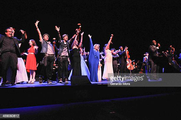 The cast of Broadway Beyond close the show on stage at the opening night of Dr Phillips Center for the Performing Arts Broadway Beyond on November 15...