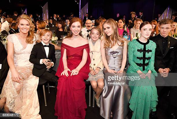 The cast of 'Captain Fantastic' pose during The 23rd Annual Screen Actors Guild Awards at The Shrine Auditorium on January 29 2017 in Los Angeles...
