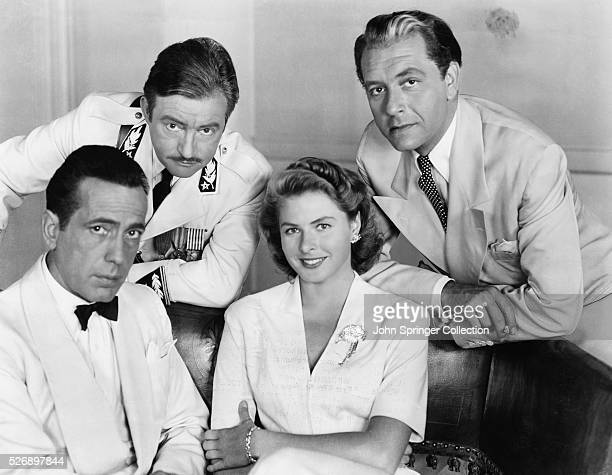 The cast of Casablanca from left to right Humphrey Bogart as Rick Blaine Claude Rains as Captain Louis Renault Ingrid Bergman as Ilsa Lund Laszlo and...