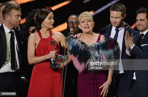 The cast of Casualty accept the Best Drama Award on stage during the National Television Awards at The O2 Arena on January 25 2017 in London England