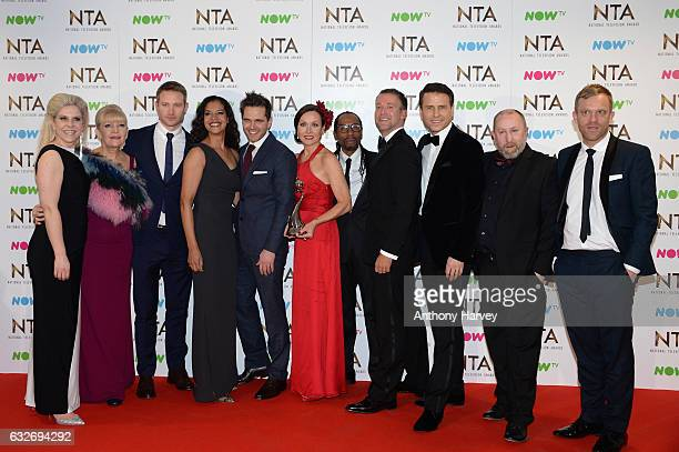 The cast of Casualty with the Best Drama Award on stage during the National Television Awards at The O2 Arena on January 25 2017 in London England