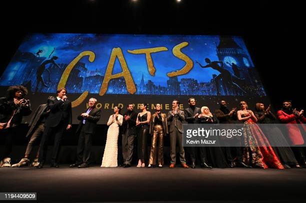 The cast of 'Cats' are seen onstage during The World Premiere of Cats, presented by Universal Pictures on December 16, 2019 in New York City.