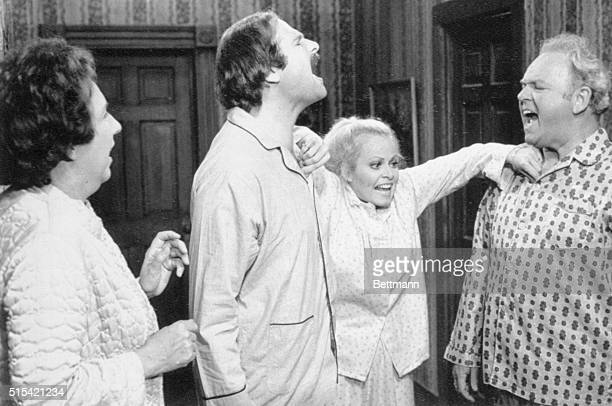 The cast of CBS TV's All In The Family, , once again spend the night under Archie's roof as the young couple, Mike and Gloria spend their last night...