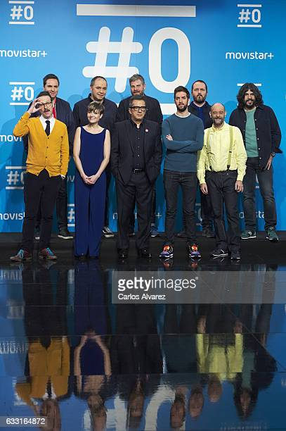 The cast of channel attend a photocall for the 'Movistar channel '#0' first anniversary at 'Movistar' Studios on January 31 2017 in Madrid Spain