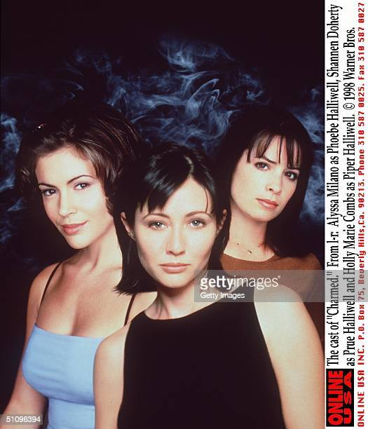 The Cast Of Charmed From LR Alyssa Milano As Phoebe Halliwell Shannen Doherty As Prue Halliwell And Holly Marie Combs As Piper Halliwell