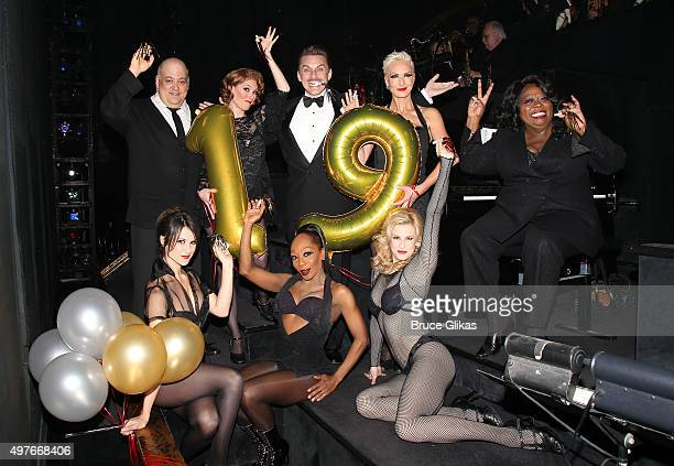 The cast of 'Chicago' on Broadway turns 19 years old as the cast celebrates backstage at The Ambassador Theatre on November 17 2015 in New York City