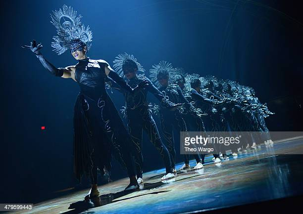 The cast of Cirque Du Soleil Amaluna performs during the 'Cirque Du Soleil Amaluna' photo call at Citi Field on March 19 2014 in New York City
