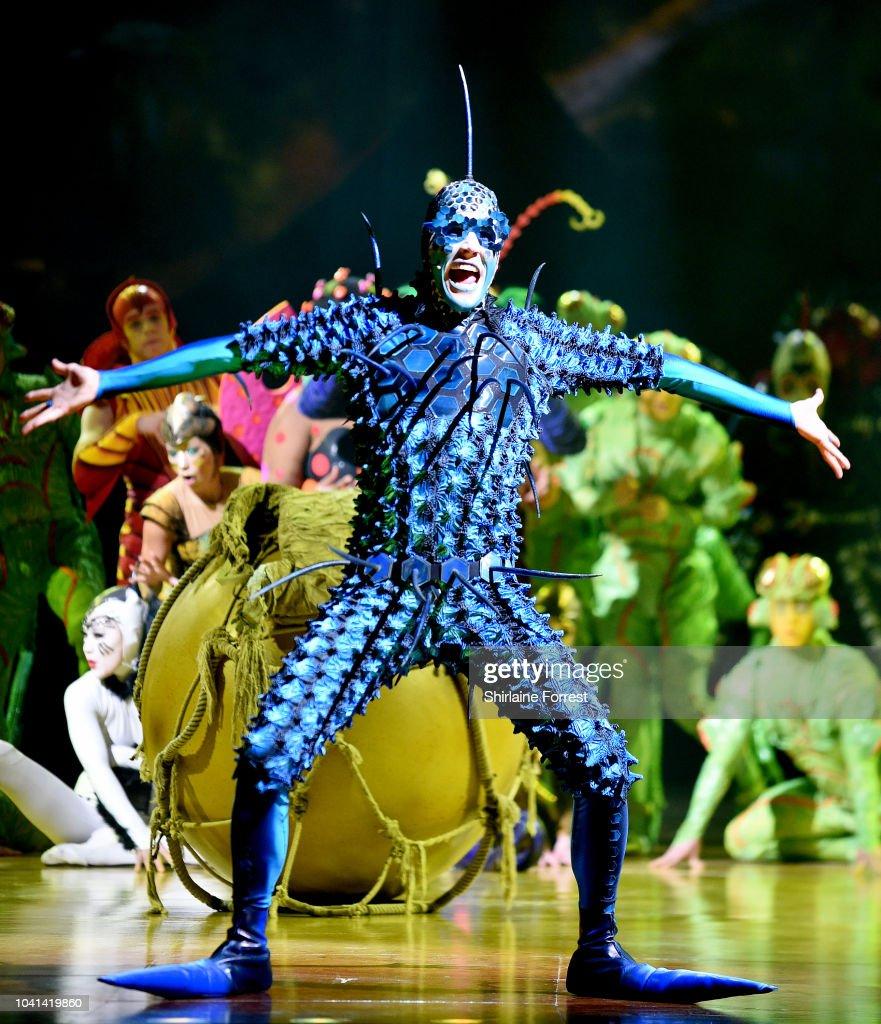 A cast member of Cirque Du Soleil performs at the Cirque