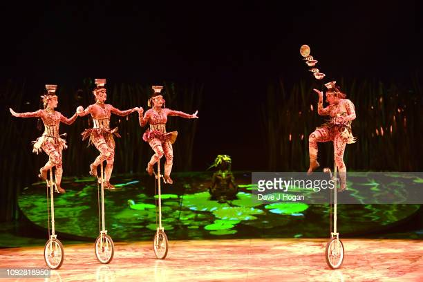 The cast of Cirque Du Soleil TOTEM during a dress rehearsal at Royal Albert Hall on January 11 2019 in London England
