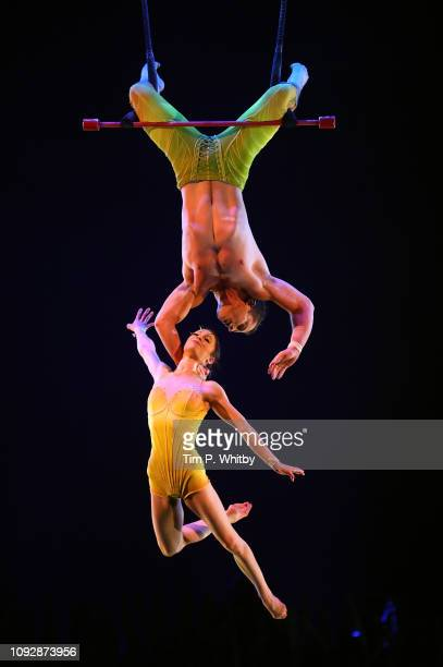 The cast of Cirque Du Soleil TOTEM during a full dress rehearsal at Royal Albert Hall on January 11 2019 in London England