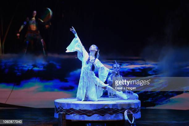 The cast of Cirque Du Soleil TOTEM perform during a dress rehearsal at Royal Albert Hall on January 11 2019 in London England