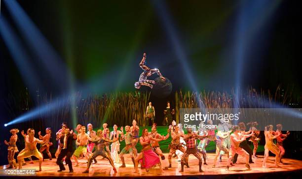 The cast of Cirque Du Soleil TOTEM perform together during a dress rehearsal at Royal Albert Hall on January 11 2019 in London England