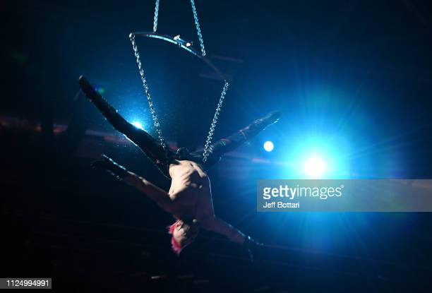 The cast of Cirque Du Soleil's Zumanity perform during the first intermission of a game between the Vegas Golden Knights and Toronto Maple Leafs at...