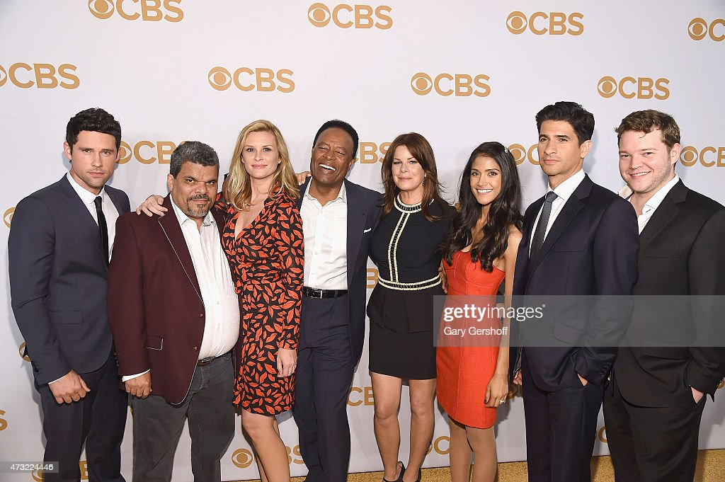 The cast of 'Code Black' (L-R) Benjamin Hollingsworth, Luis Guzman, Bonnie Somerville, William Allen Young, Marcia Gay Harden, Melanie Kannokada, Raza Jaffrey, and Harry M. Ford attendsthe 2015 CBS Upfront at The Tent at Lincoln Center on May 13, 2015 in New York City.