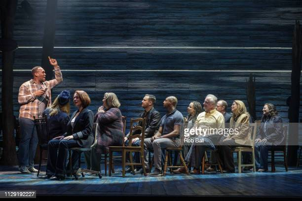 The cast of 'Come from Away' perform during a photocall at Phoenix Theatre on February 12 2019 in London England