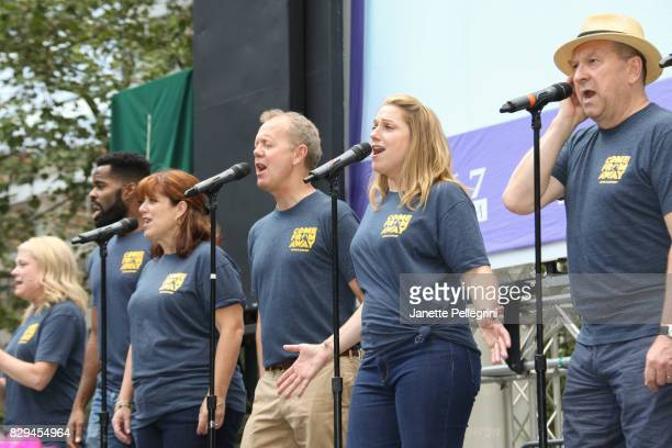 The cast of 'Come From Away' performs at 1067 Lite FM's Broadway In Bryant Park 2017 on August 10 2017 in New York City