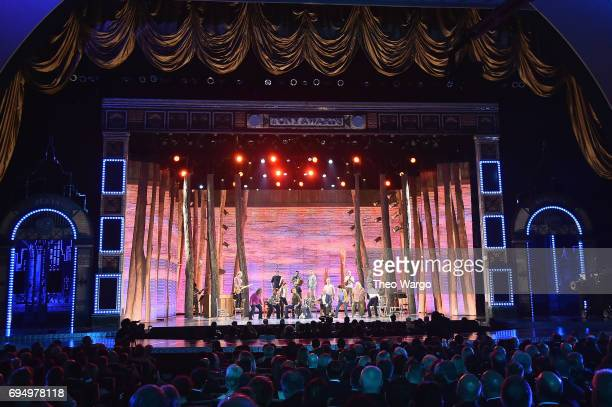 The cast of Come From Away performs onstage during the 2017 Tony Awards at Radio City Music Hall on June 11 2017 in New York City