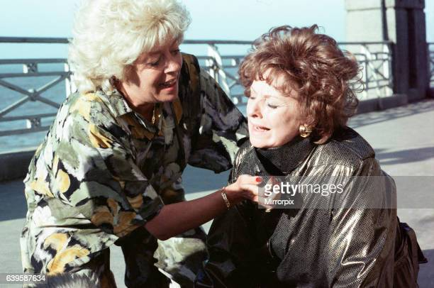 The cast of 'Coronation Street' filming scenes for death of Alan Bradley storyline in Blackpool Julie Goodyear as Bet Lynch and Barbara Knox as Rita...